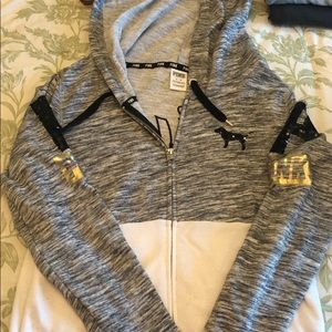 Pink grey and white zip up